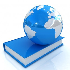book and earth  on a white background